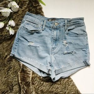 Levi's High Waisted Distressed Raw Hem Jean Shorts